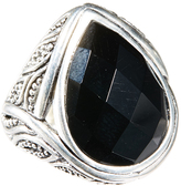 Barse Onyx & Silvertone Ring