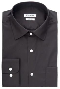 Haggar Men's Comfort Stretch Black Dress Shirt