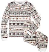 PJ Salvage Girls' Waffle-Knit Fair Isle Pajama Set - Big Kid