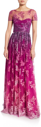Marchesa Notte Ombre Metallic Embroidered Short-Sleeve Illusion Gown with Open-Back