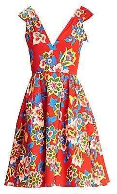 Carolina Herrera Women's Floral Bow-Shoulder Fit-&-Flare Dress