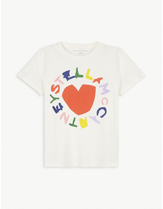 Stella McCartney Heart graphic cotton T-shirt 4-16 years
