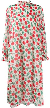 Ganni Floral-Print High-Neck Dress