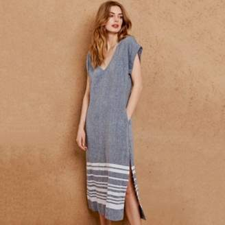 The White Company Linen Border Stripe Midi Dress, Indigo, 4