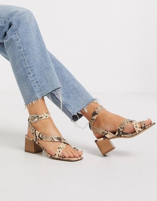 New Look faux snake strappy sandals in stone
