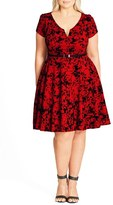 City Chic Plus Size Women's Rose Beauty Belted Fit & Flare Dress