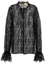 H&M Lace Blouse with Ruffled Cuffs - Black - Ladies