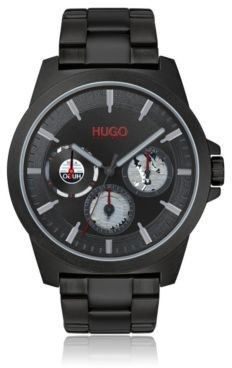 HUGO BOSS Black-plated multi-eye watch with distinctive sub-dials
