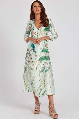 Liquorish Mint Green Bird-Print Wrap Dress