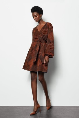Karen Millen Jacquard Wrap Knitted Dress