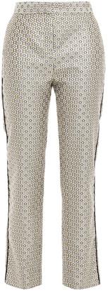 Maje Velvet-trimmed Metallic Jacquard Slim-leg Pants