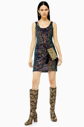 Topshop Womens Sequin Scoop Mini Dress - Navy Blue