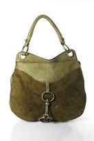 Donna Karan Modern Libra Green Leather Saddle Bag Handbag