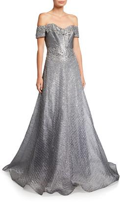 Rene Ruiz Collection Off-the-Shoulder Short-Sleeve Gown