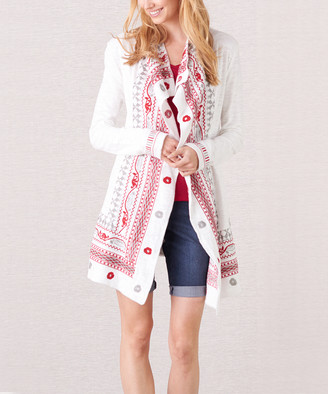 Paparazzi Women's Non-Denim Casual Jackets WHITE/RED - White & Red Pocket-Accent Jaipur Hooded Cardigan - Women