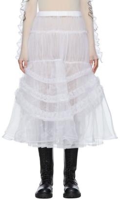Noir Kei Ninomiya White Organdy Embroidery Skirt