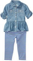 Ralph Lauren Chambray Shirt & Striped Leggings Set, Baby Girls (0-24 months)