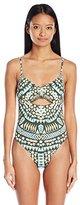 Bikini Lab Women's Folk up the Sun Pom Pom One Piece Swimsuit with Cut-Out
