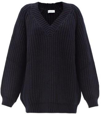 Raey Oversized V-neck Chunky Wool-blend Sweater - Mens - Navy