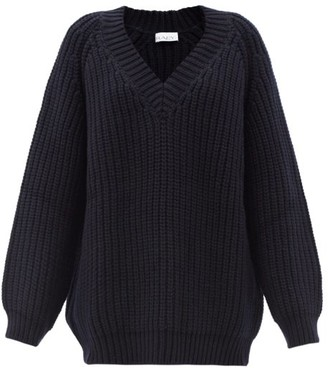 Raey Oversized V-neck Chunky Wool-blend Sweater - Navy