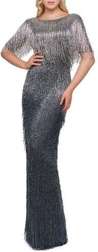 Mac Duggal Ombre Fringe Gown