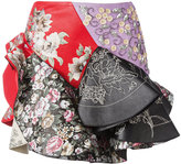 Alexander McQueen embroidered frill mini skirt - women - Leather/Cotton/Viscose/glass - 38