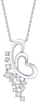 Lab Grown Diamond Heart Shape Necklace, 1/5 Ctw 10K Solid Gold by Smiling Rocks
