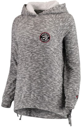 Women's FISLL Heathered Gray Toronto Raptors Side Lace Sherpa Hacci Tri-Blend Pullover Hoodie