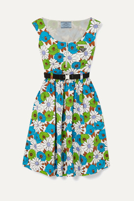 Prada Belted Floral-print Cotton-poplin Dress - Blue