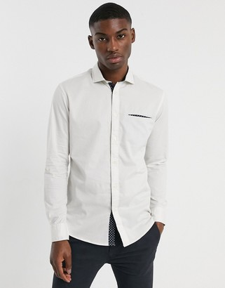 Selected salford slim long sleeve shirt-White