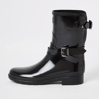 Hunter Wellies River Island Womens Hunter Original Black short wellington boots