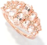 colorzNshades 2 5/6 CT TW Oval-Cut Morganite 14K Rose Gold over Silver Ring with Diamond Accents