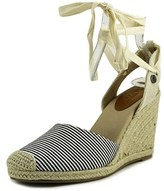 Roxy Bolsa Women Open Toe Canvas Blue Wedge Sandal.