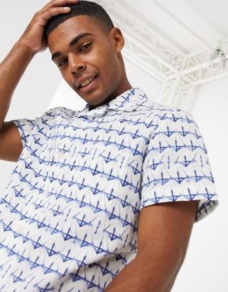 HUGO BOSS Rhythm short sleeve revere printed shirt in blue