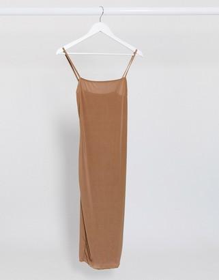 Fashionkilla going out cami strap midi dress in camel