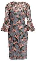 David Meister Bell Sleeve Floral Sheath Dress