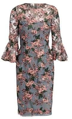 David Meister Bell Sleeve Floral Sheath Dress