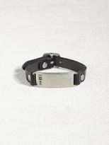 John Varvatos Leather & Pewter ID Plate Bracelet