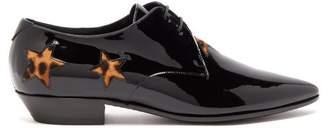 Saint Laurent Jonas Calf Hair-trimmed Patent-leather Derby Shoes - Womens - Black Multi