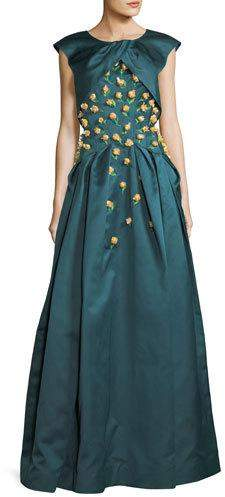 Zac Posen Double-Duchess Satin Corset-Bodice Evening Gown w/ Floral Embroidery