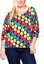 Red & Yellow Polka Dot Three-Quarter Sleeve Tunic - Plus