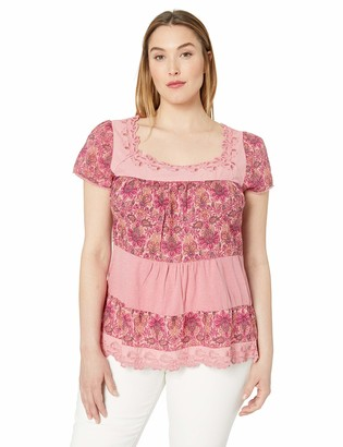 Lucky Brand Women's Plus Size Tiered Cap Sleeve TOP