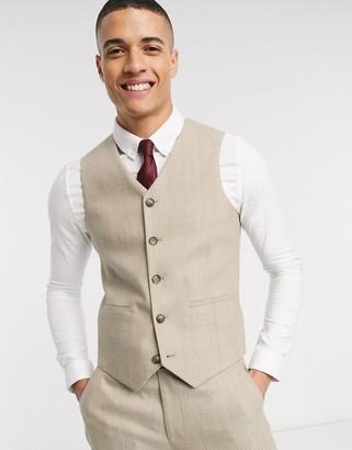 ASOS DESIGN wedding slim suit suit vest in wool mix herringbone in camel