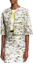 Carolina Herrera Half-Sleeve Open-Front Cropped Jacket, Black/Yellow