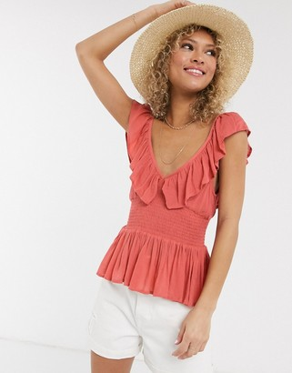 ASOS DESIGN shirred waist ruffle sun top in Red-No Color