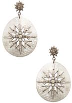 Sterling Silver & 0.51 Total Ct. Champagne Diamond Starburst Shield Earrings