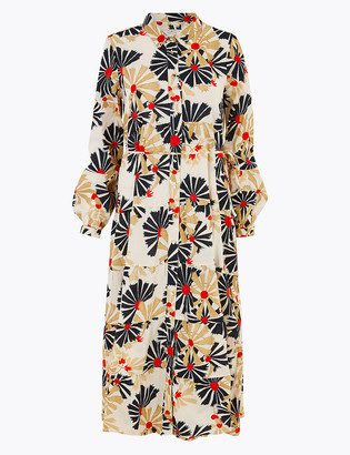 Marks and Spencer Pure Cotton Printed Midaxi Shirt Dress