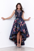 Nox Anabel Sleeveless Sheer Illusion Hi-Lo Blue Gown with Floral Print