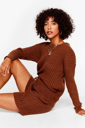 Nasty Gal Womens Knit's All About You Sweater and Shorts Set - Chocolate