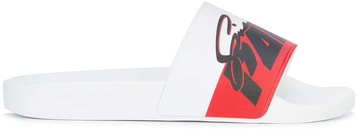 Givenchy logo open-toe slides